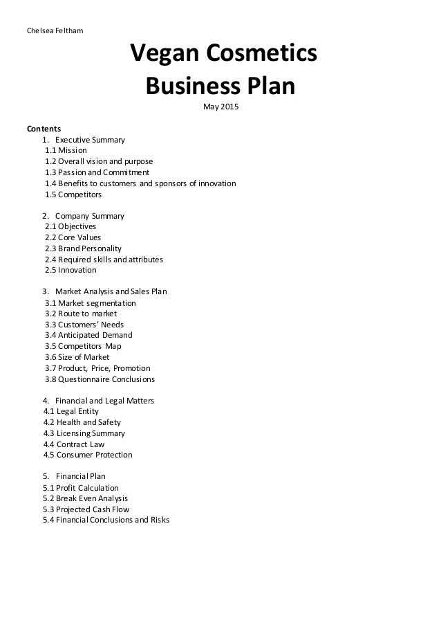 skin care business plan template