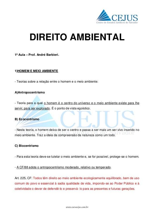 www.cursocejus.com.br DIREITO AMBIENTAL 1ª Aula – Prof. André Barbieri. 1)HOMEM E MEIO AMBIENTE - Teorias sobre a relação ...