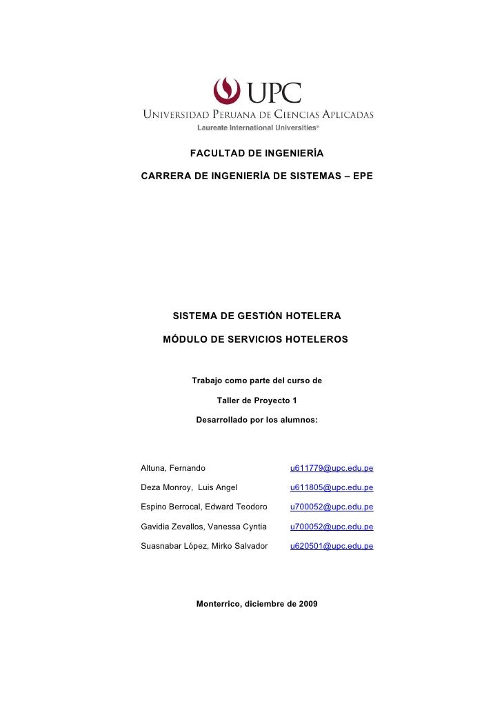 FACULTAD DE INGENIERÍACARRERA DE INGENIERÍA DE SISTEMAS – EPE        SISTEMA DE GESTIÓN HOTELERA     MÓDULO DE SERVICIOS H...