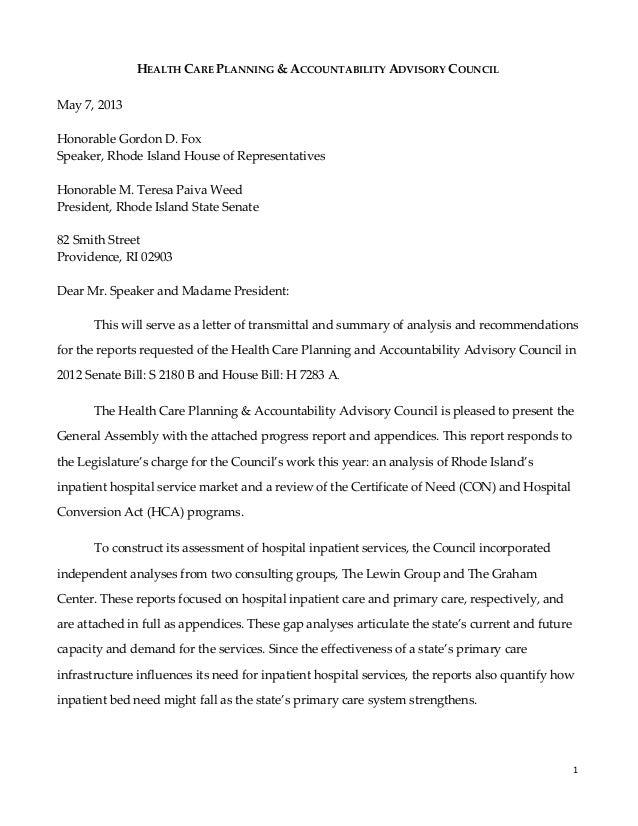 1      HEALTH CARE PLANNING & ACCOUNTABILITY ADVISORY COUNCIL  May 7, 2013     Honorable Gordon D. Fox ...