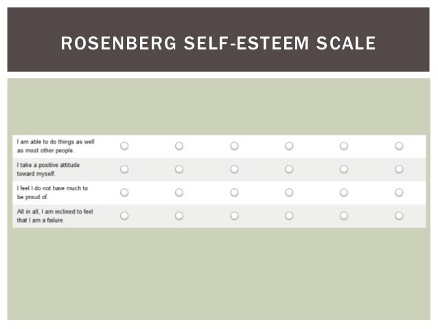 evaluation of rosenbergs self esteem scale 2) rosenberg self-esteem scale it consists of 10 questions rated on a likert scale from 1 - 4 having 1 to strongly disagree, 2 disagree, 3 agree and 4 strongly agree.