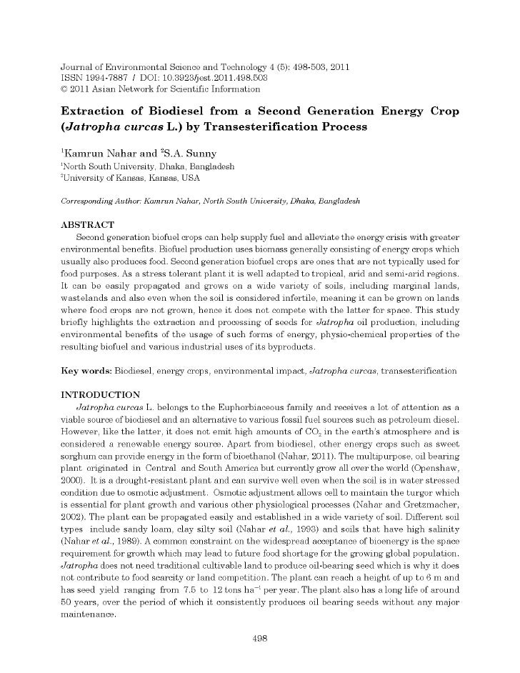 Extraction of Biodiesel from a Second Generation Energy Crop: Jatropha Curcas