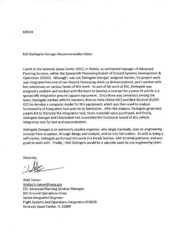of Recommendation NASA Walt T – Eagle Scout Letter of Recommendation