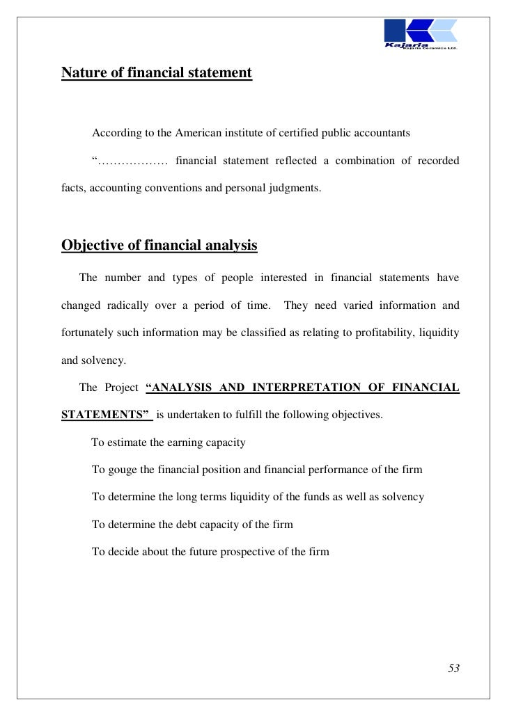a financial statement analysis project for Management and analysis of projects (the guidelines) as updated in 2005 it  supersedes  appendix 6: model financial statements: service organization 76.