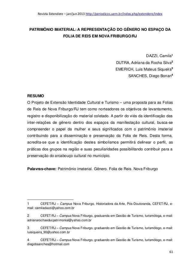Revista Extendere – jan/jun 2013 http://periodicos.uern.br/index.php/extendere/index  PATRIMÔNIO IMATERIAL: A REPRESENTAÇÃ...