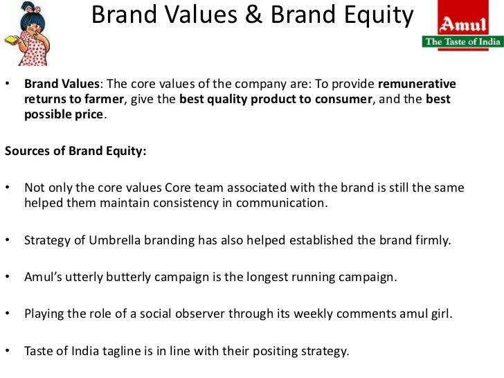 amul brand equity Amul is an indian dairy cooperative, based at anand in the state of gujarat founded in 1946, the brand is today managed by the gujarat co-operative milk marketing federation ltd (gcmmf) which is jointly owned by about 3,000,000 milk producers in the state.