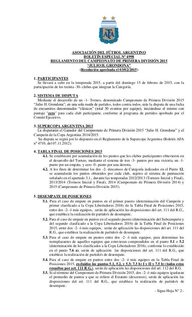 """ASOCIACIÓN DEL FÚTBOL ARGENTINO BOLETÍN ESPECIAL Nº 4998 REGLAMENTO DEL CAMPEONATO DE PRIMERA DIVISIÓN 2015 """"JULIO H. GRON..."""
