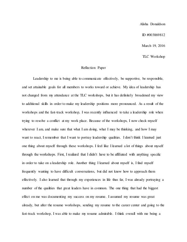 tlc reflection paper