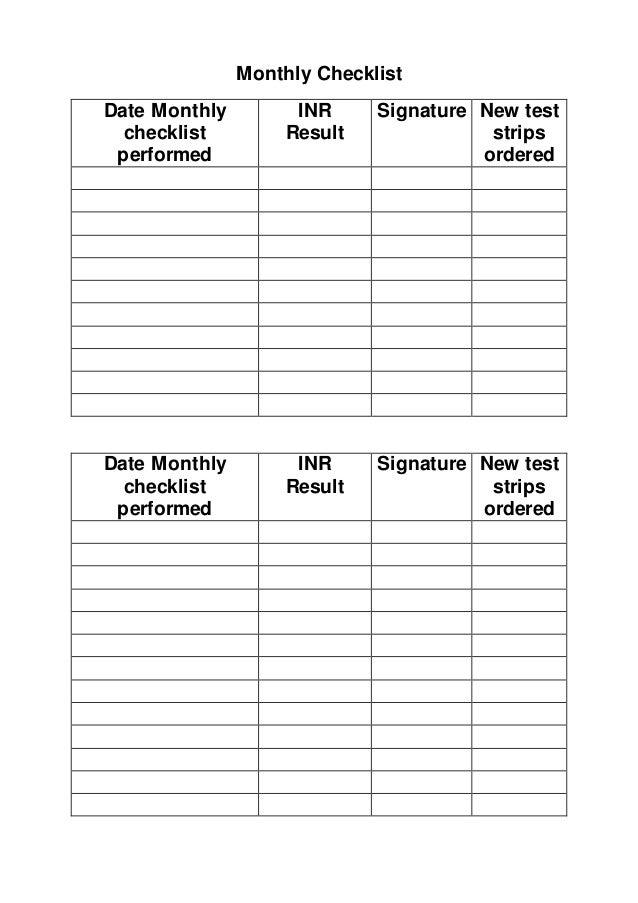 INR CHECKLIST FOLDER AND EQUIPMENT Guidelines – Equipment Checklist