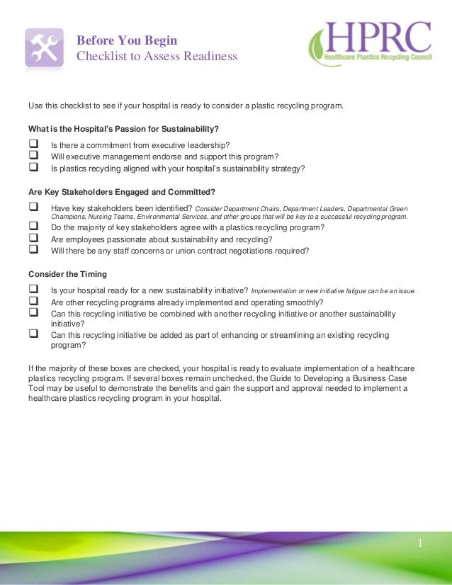 Hospital Recycling Program Readiness Assessment Checklist