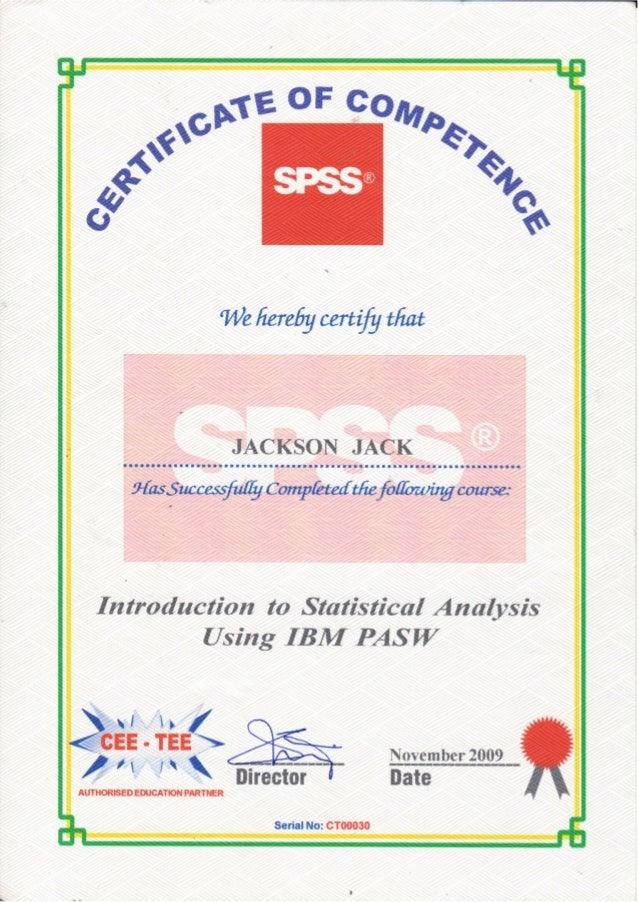 Introduction to statistical analysis using IBM PASW