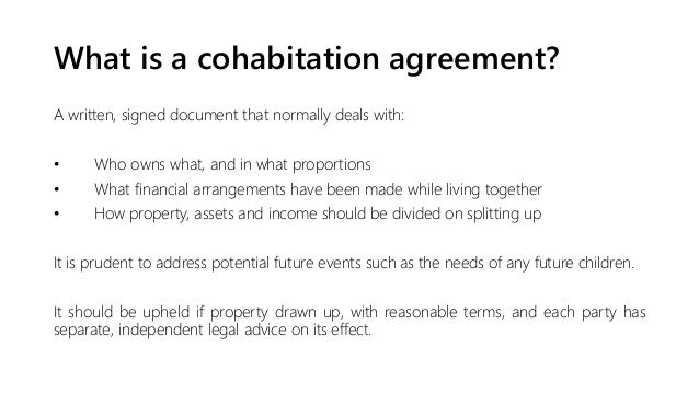 ... Separate Evidence Is Needed; 22. What Is A Cohabitation Agreement?