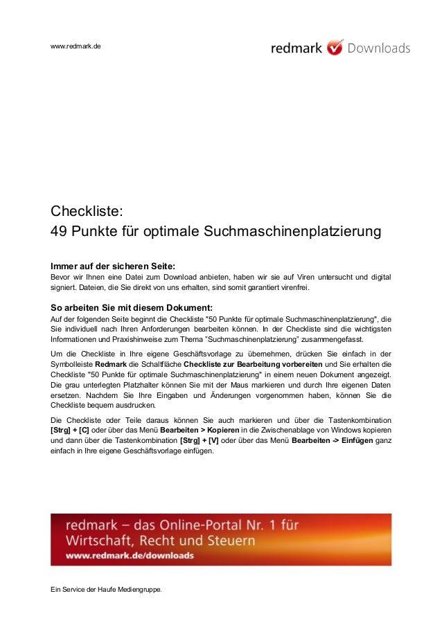 www.redmark.de Checkliste: 49 Punkte für optimale Suchmaschinenplatzierung Immer auf der sicheren Seite: Bevor wir Ihnen e...