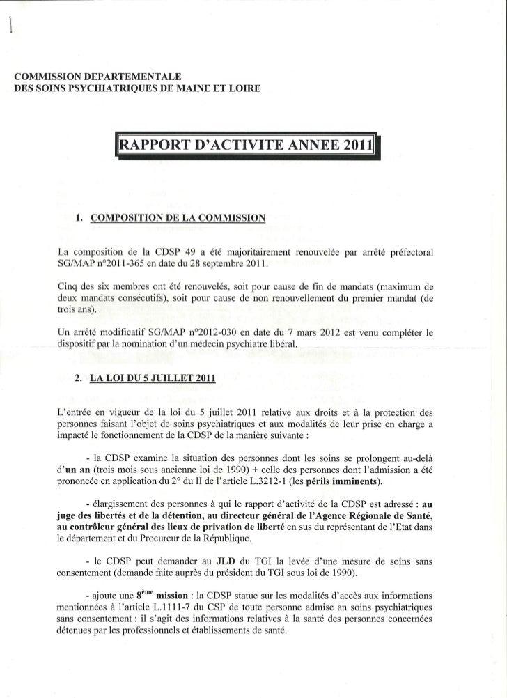 Rapport 2011 CDSP du Maine et Loire