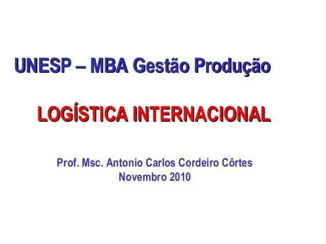 UNESP – MBA Gestão ProduçãoUNESP – MBA Gestão Produção LOGÍSTICA INTERNACIONALLOGÍSTICA INTERNACIONAL Prof. Msc. Antonio C...