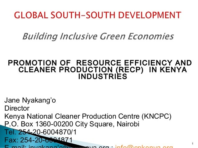 PROMOTION OF RESOURCE EFFICIENCY AND CLEANER PRODUCTION (RECP) IN KENYA INDUSTRIES Jane Nyakang'o Director Kenya National...