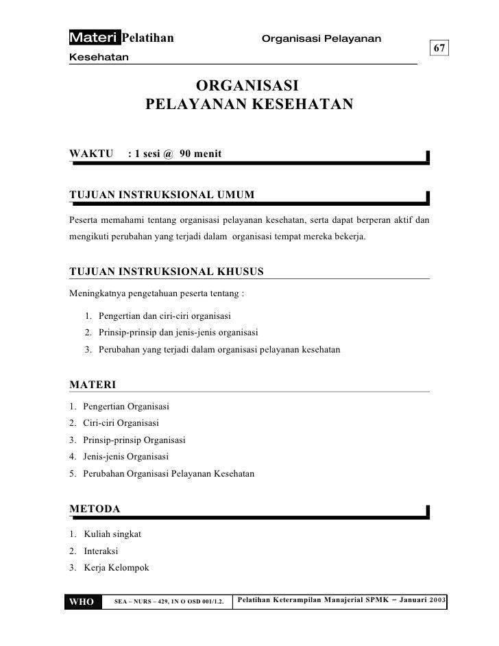 Materi Pelatihan                                       Organisasi Pelayanan                                               ...