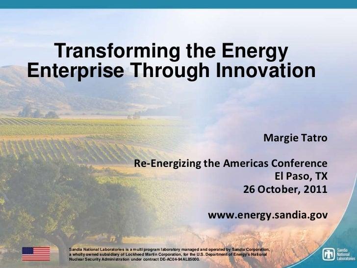 Transforming the Energy    Enterprise Through Innovation                                                                  ...