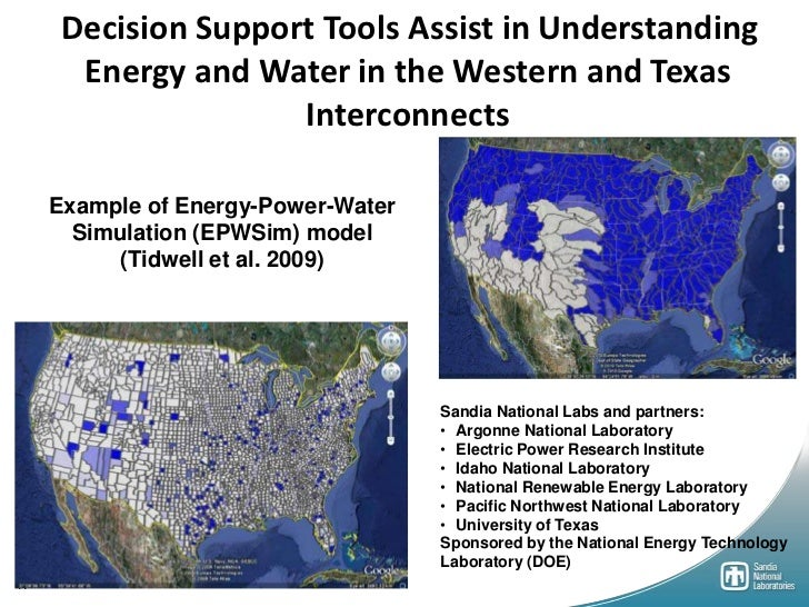 Decision Support Tools Assist in Understanding       Energy and Water in the Western and Texas                     Interco...