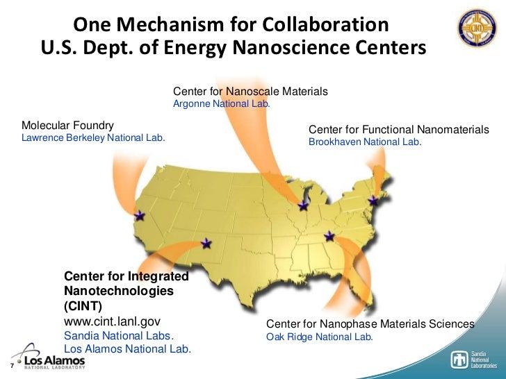 One Mechanism for Collaboration        U.S. Dept. of Energy Nanoscience Centers                                      Cente...