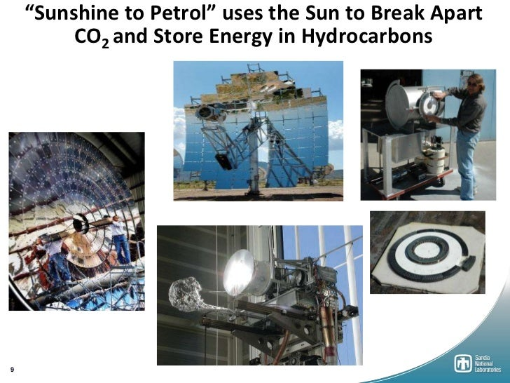 """""""Sunshine to Petrol"""" uses the Sun to Break Apart         CO2 and Store Energy in Hydrocarbons9"""