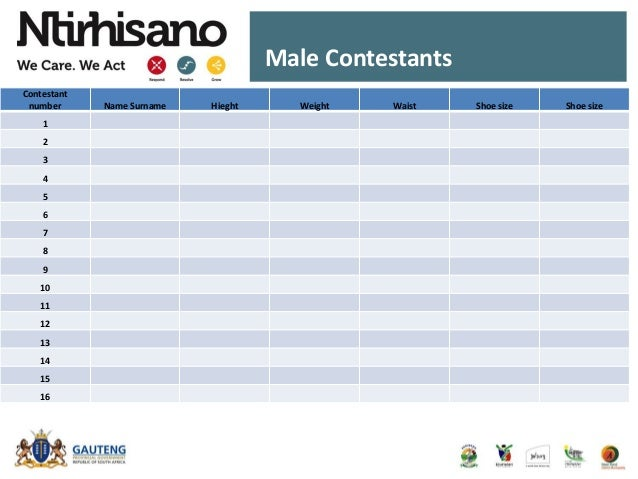 Male Contestants Contestant number Name Surname Hieght Weight Waist Shoe size Shoe size 1 2 3 4 5 6 7 8 9 10 11 12 13 14 1...