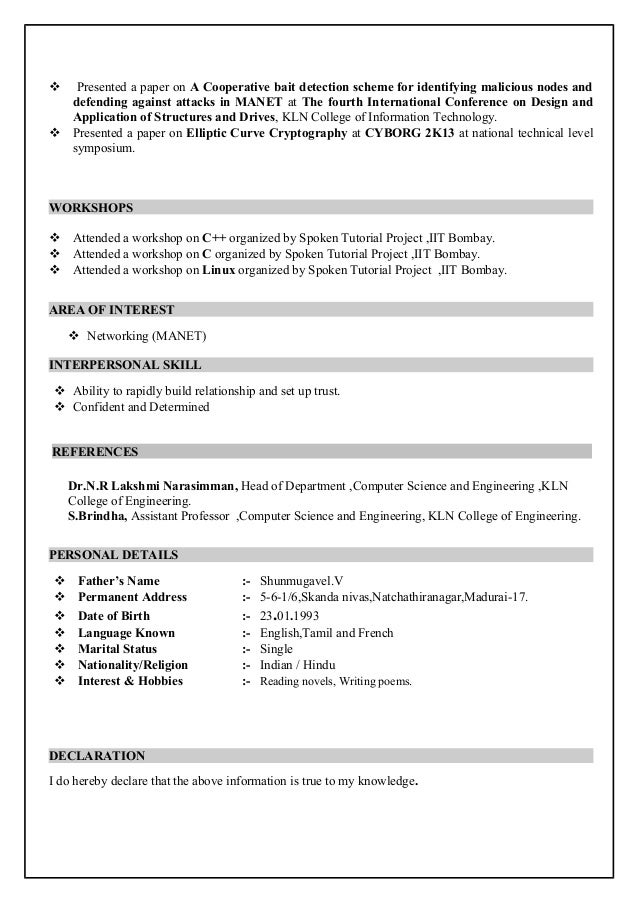 Marvellous Resume Of Computer Science Engineering Student 11 With  Additional Creative Resume with Resume Of Computer Science Engineering  Student