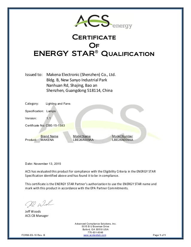 Lbe26a009aa Energy Star Certificate