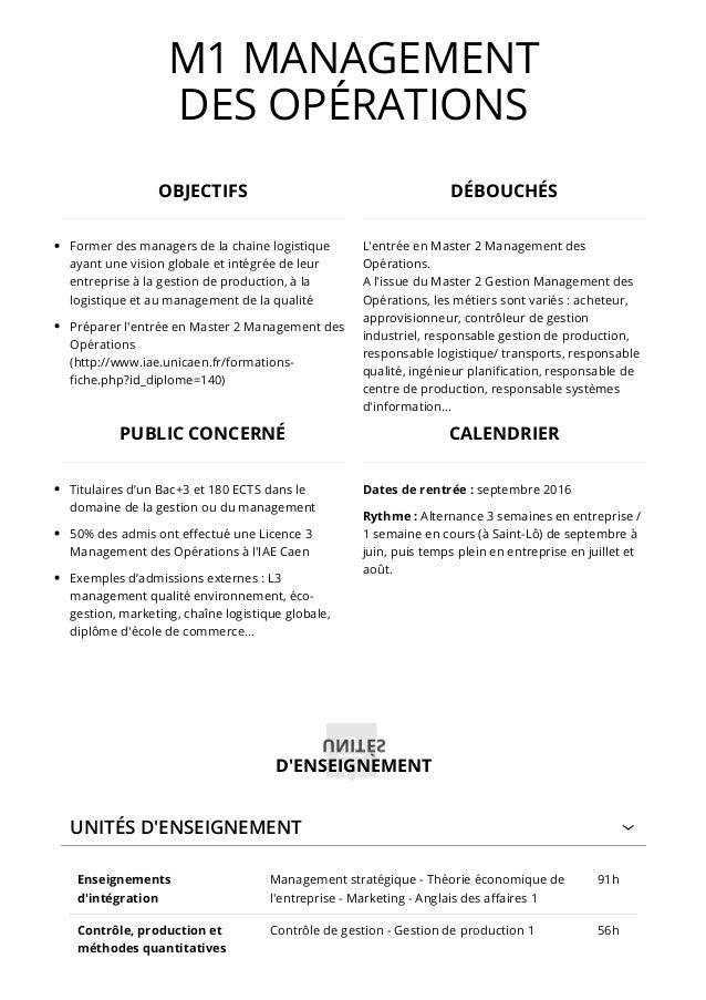 M1 MANAGEMENT DES OPÉRATIONS UNITÉS D'ENSEIGNEMENT Enseignements d'intégration Management stratégique - Théorie économique...