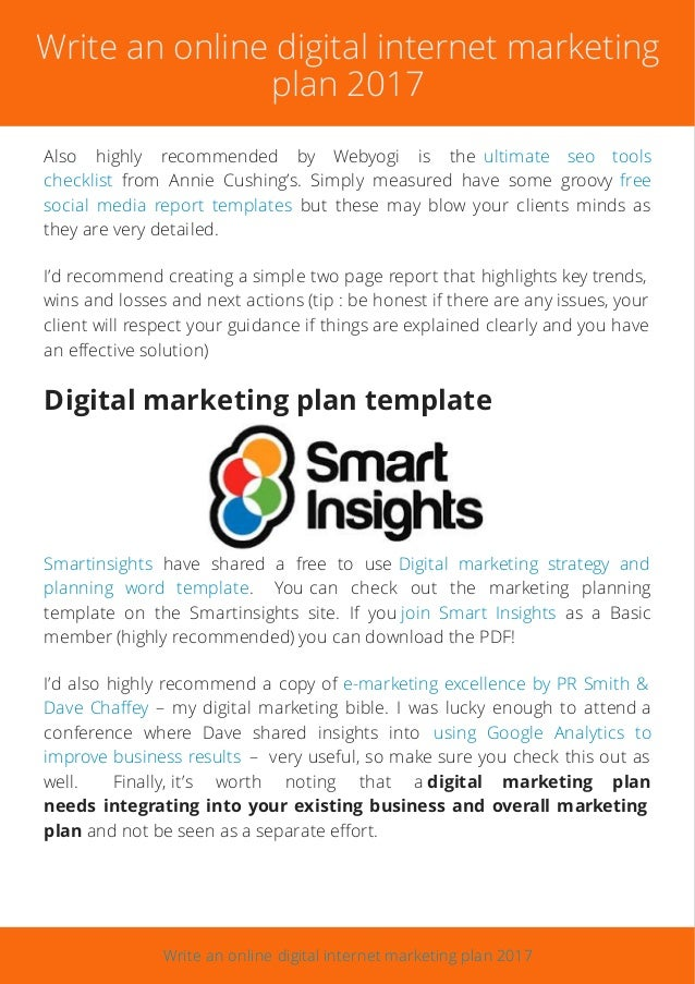 Write An Online Digital Internet Marketing Plan