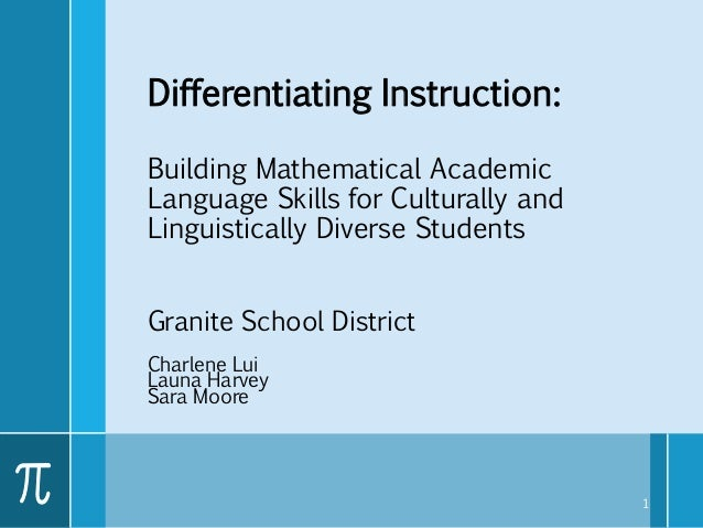Differentiating Instruction: Building Mathematical Academic Language Skills for Culturally and Linguistically Diverse Stud...
