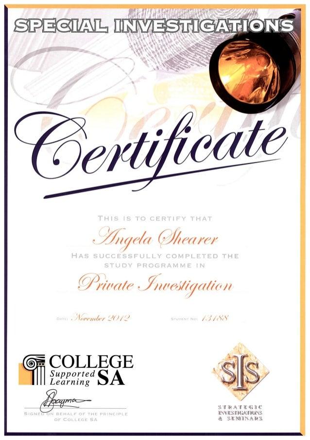 Private Investigations - Certificate - Angela Shearer