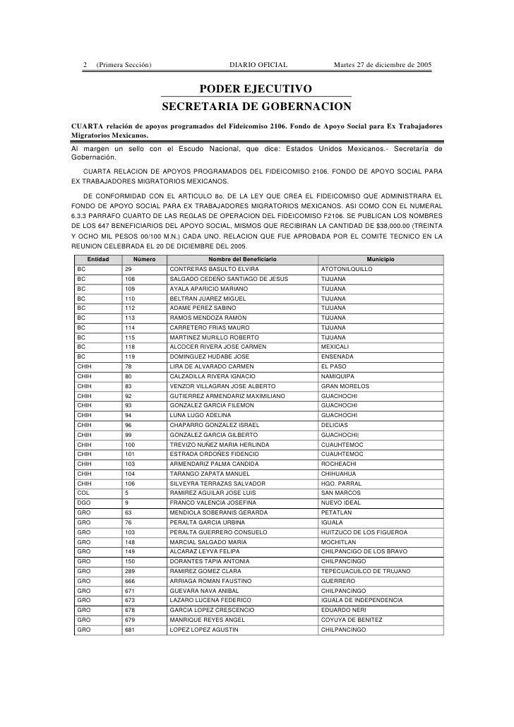 2     (Primera Sección)                        DIARIO OFICIAL        Martes 27 de diciembre de 2005                       ...