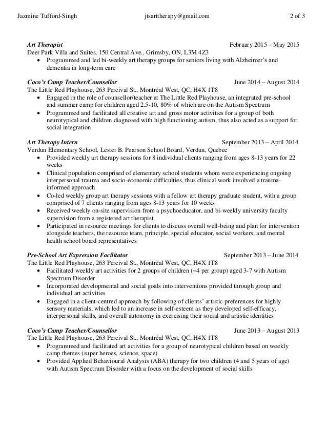 Art Therapist Cover Letter. Examples Of Resumes Intern Resume