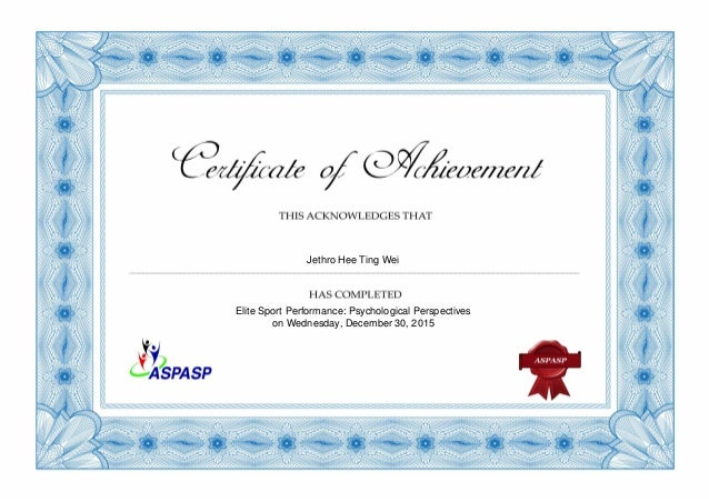 Certificate For Sports Psychology