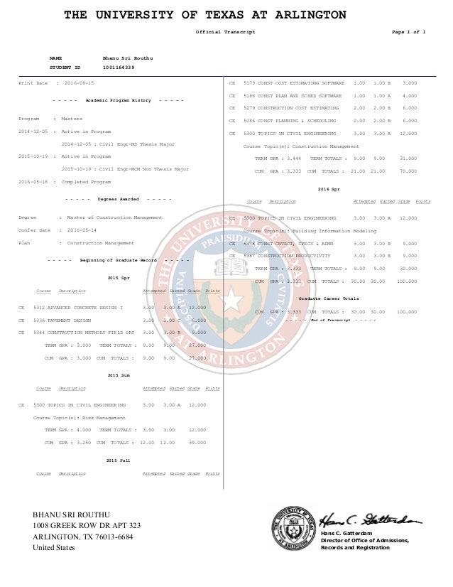UTA Transcript