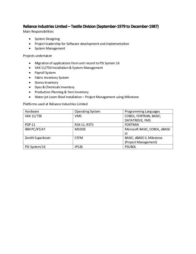 VD Thakkar RIL 1 Detailed Work Experience