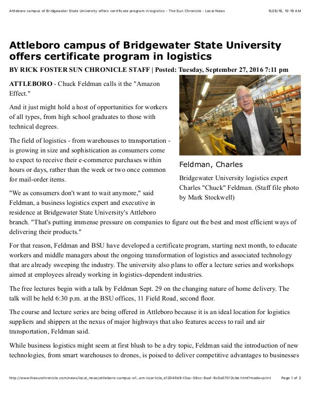Bridgewater State University offers certificate program in logistics …