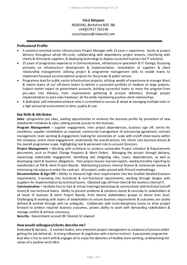 v simpson senior project manager cv v2 page 1 of 4 vicci simpson reading