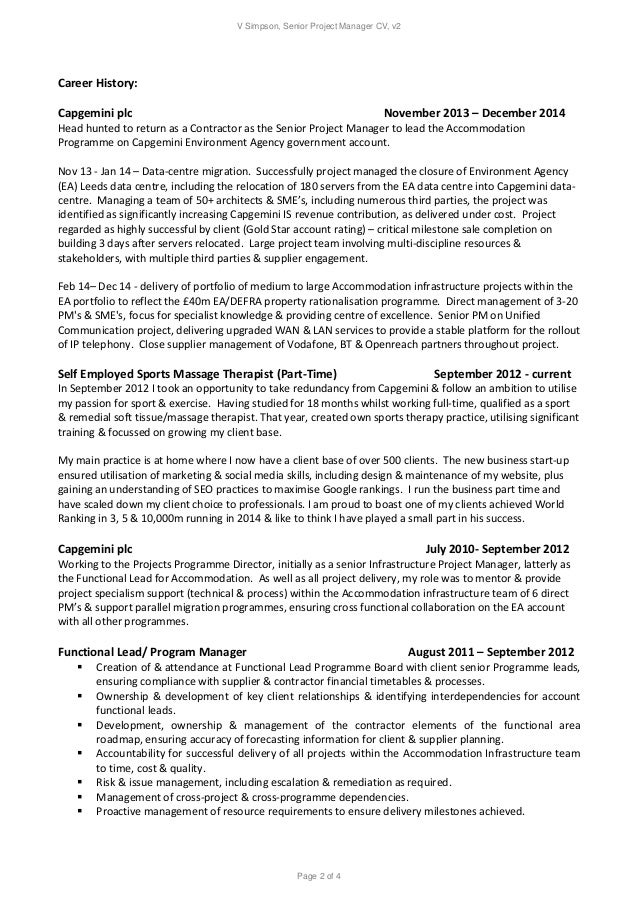 V Simpson Senior Project Manager Resume V