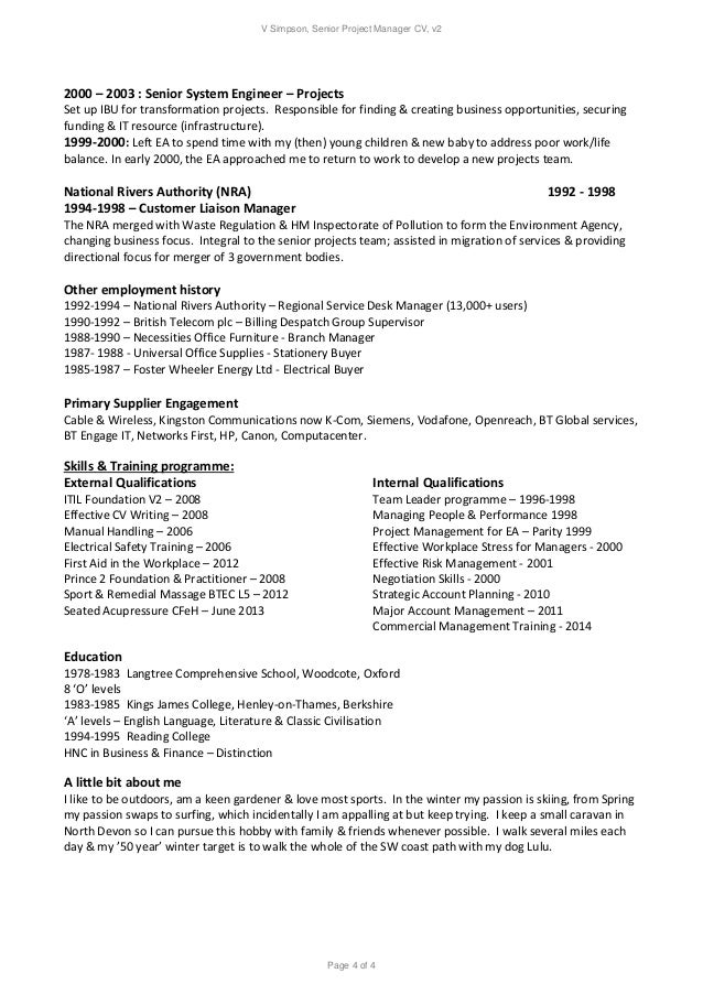 V Simpson Senior Project Manager Resume 2