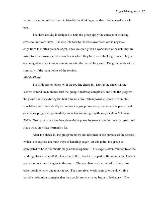 Anger Management Group Therapy For Adolescent Males Research Paper