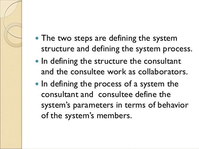  The two steps are defining the system structure and defining the system process.  In defining the structure the consult...