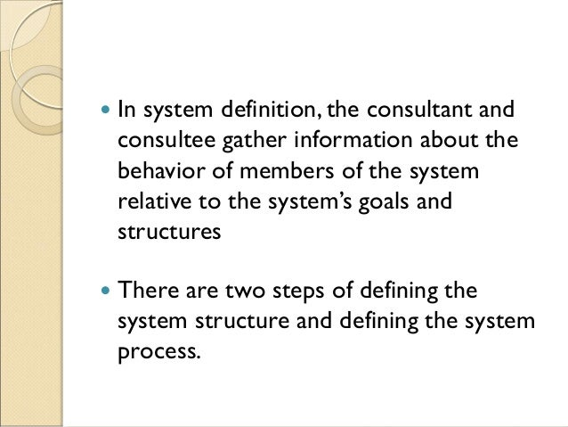  In system definition, the consultant and consultee gather information about the behavior of members of the system relati...
