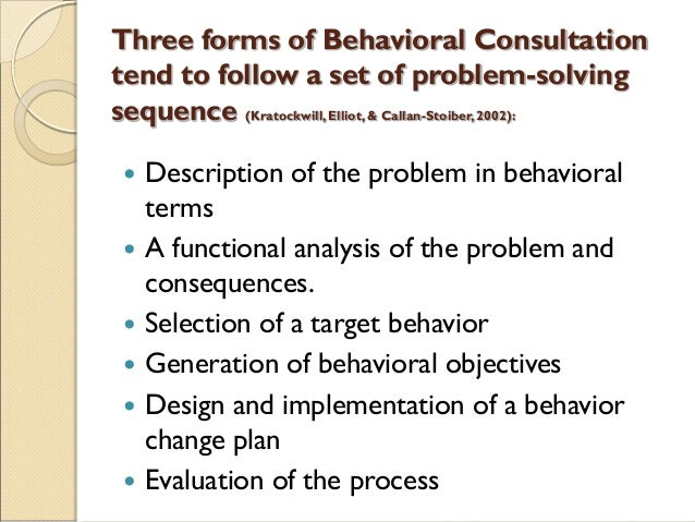 Three forms of Behavioral Consultation tend to follow a set of problem-solving sequence (Kratockwill,Elliot,& Callan-Stoib...