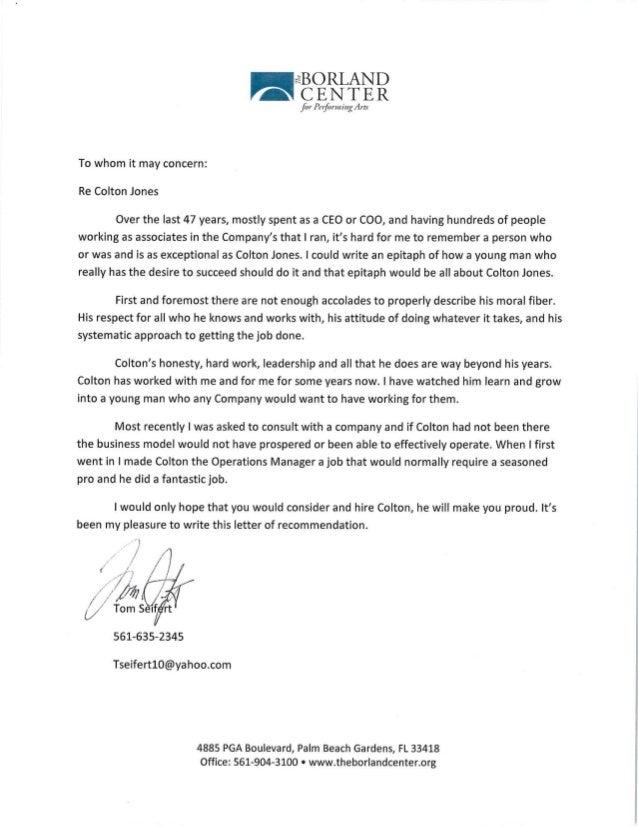 Tom Seifert Recommendation Letter
