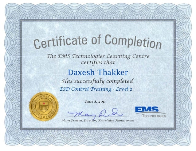 Esd Control Level 2 Training Certificate
