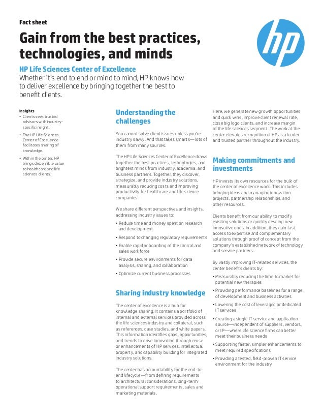 Fact sheet Gain from the best practices, technologies, and minds HP Life Sciences Center of Excellence Whether it's end to...