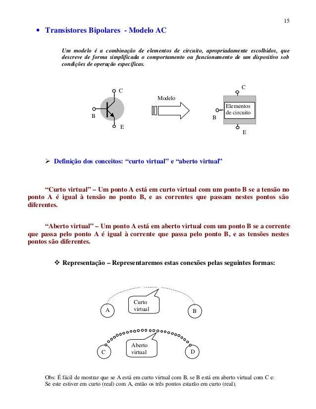 15 • Transistores Bipolares - Modelo AC Um modelo é a combinação de elementos de circuito, apropriadamente escolhidos, que...