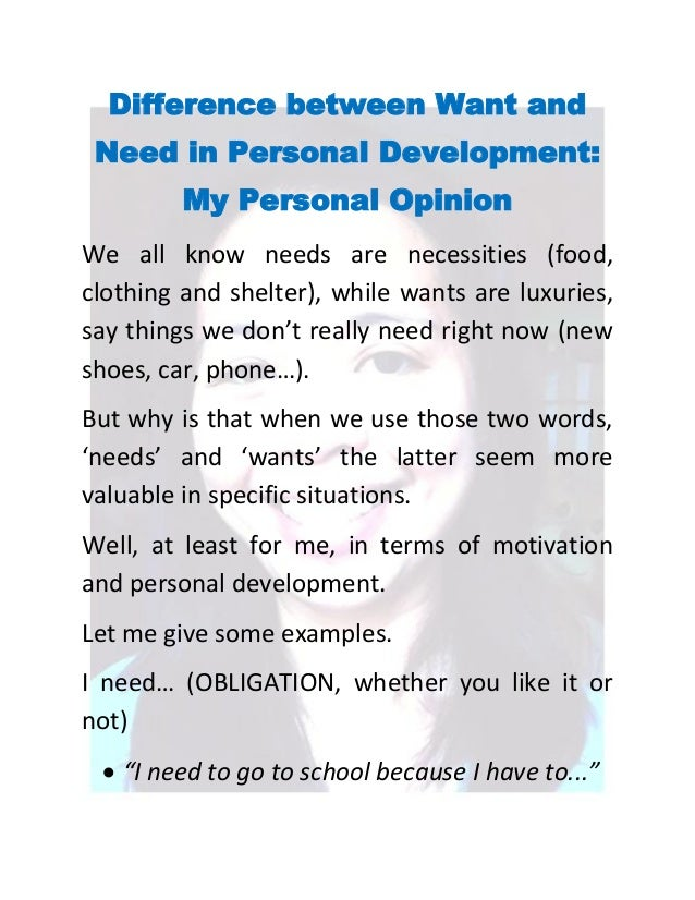 Difference between Want and Need in Personal Development